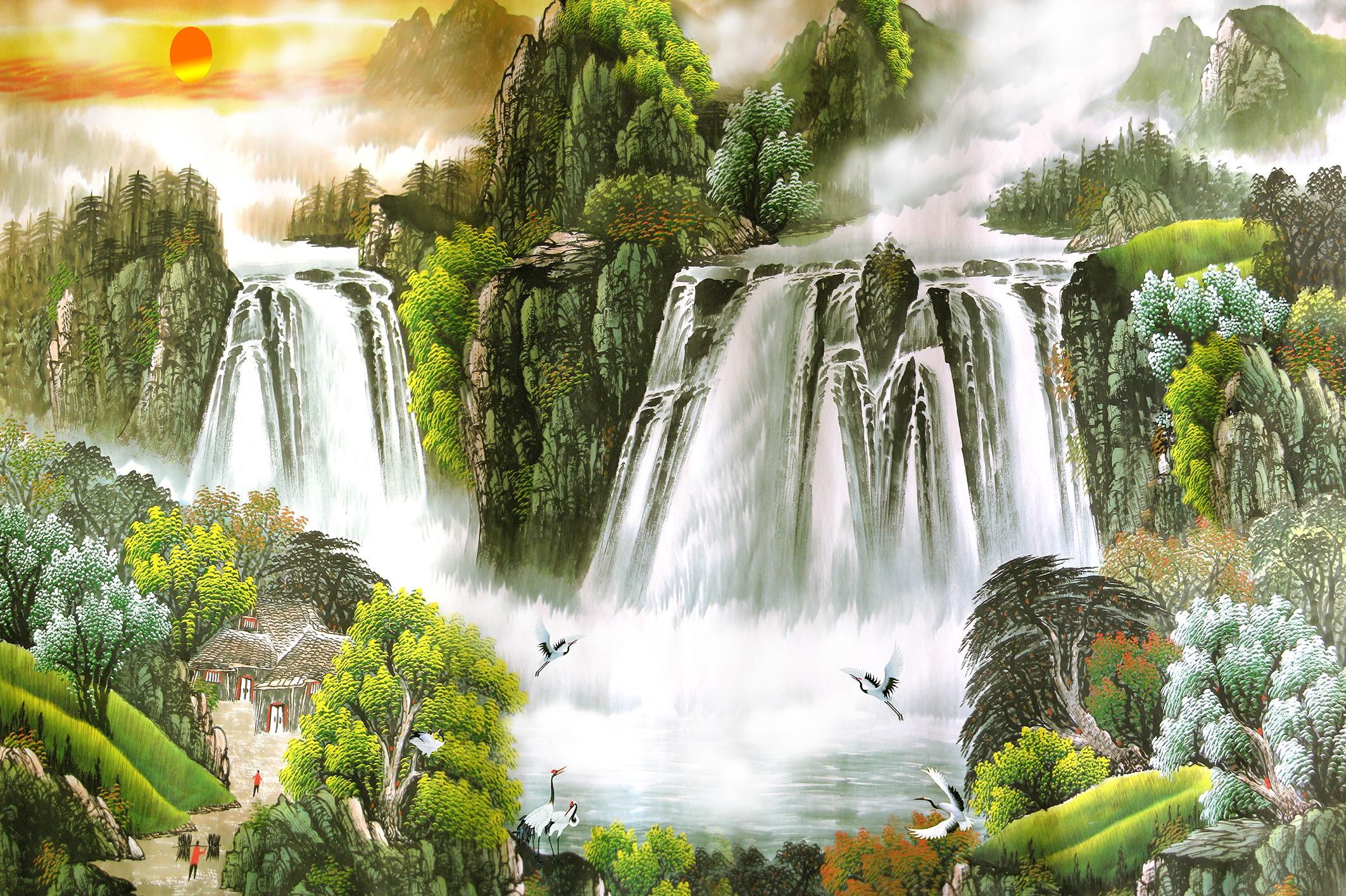 壁纸 风景 国画 旅游 瀑布 山水 桌面 2126_1417